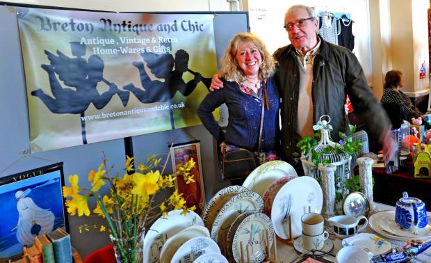 Ledbury Reporter: Councillor Graham Powell joins Lynette Breton on her Breton Antique and Chic at the Vintage Fayre. Picture: Chas Breton..(4830421)