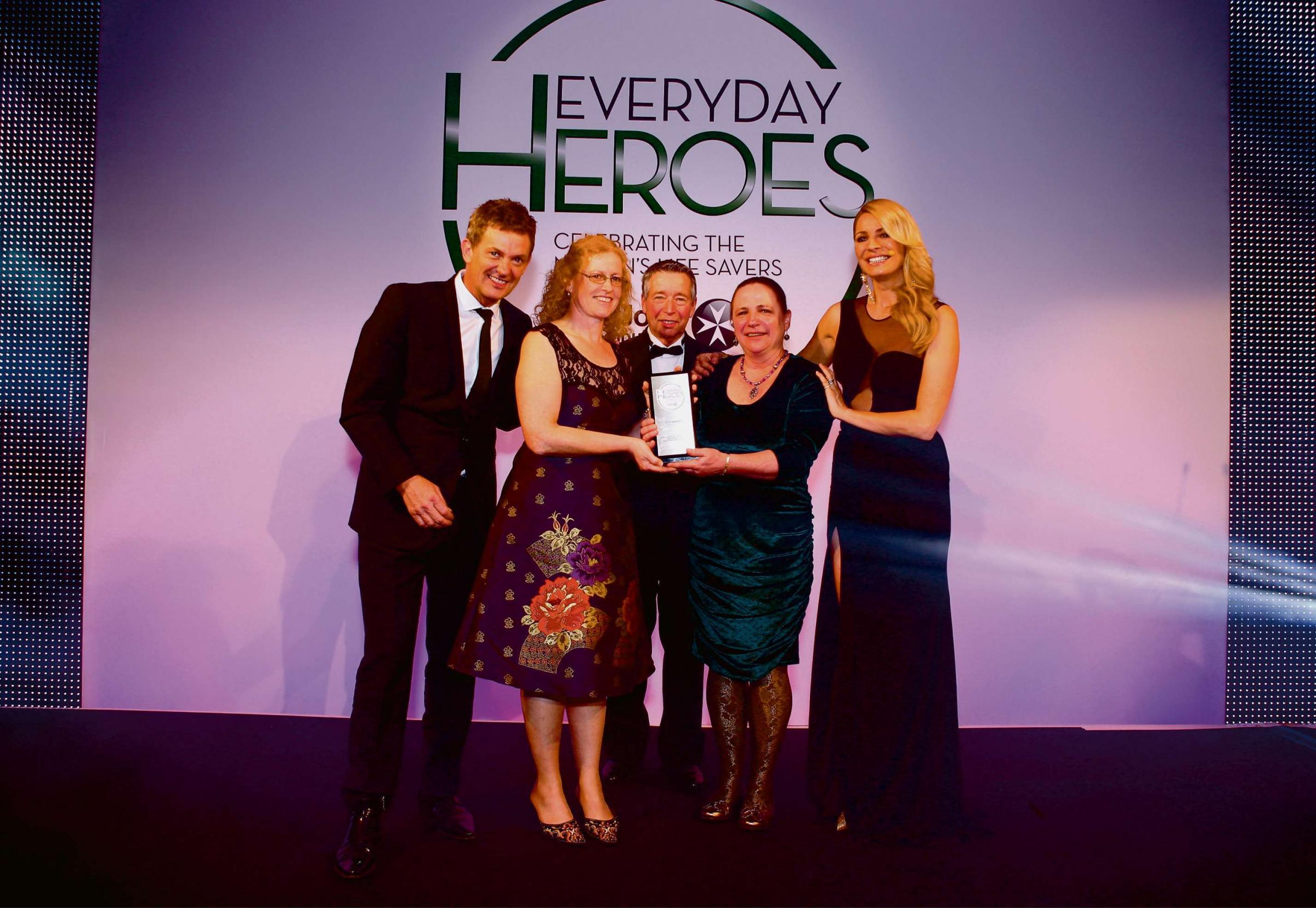 TV presenter Matthew Wright with winner Karen Lawrance, Ward Hamilton Patron, London's Air Ambulance and Senior Vice President, Zoll Medical Corporation, winner Diane Fullerton and TV presenter Tess Daly.