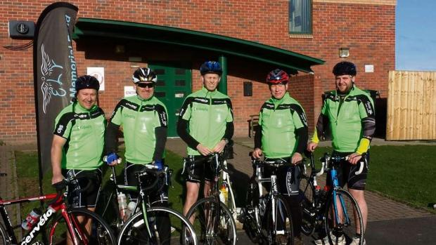 Ledbury Reporter: Left to right: Dale Morris, Steve Greening, Howard Robinson, Colin Headland and Lee Simpson are taking on the ride of their lives along with Byron Dermody. (4907784)