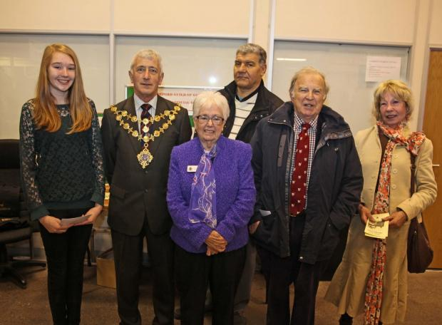 (l-r) Junior section winner Katie Hughes, the Mayor of Hereford Phil Edwards, guild president Jean O'Donnell, runner-up Paul Jackson, adult section winner Dr Richard Miller and guild secretary Margaret Kemp. Dr Richard Miller with second prize winner