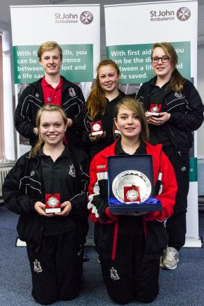 Lucton School regional winners. Back l-r Henry McNab, Georgia Rowney and Ellie-Mae Davis Bufton. Front l-r Jessica Bemand and Anna Paterson.
