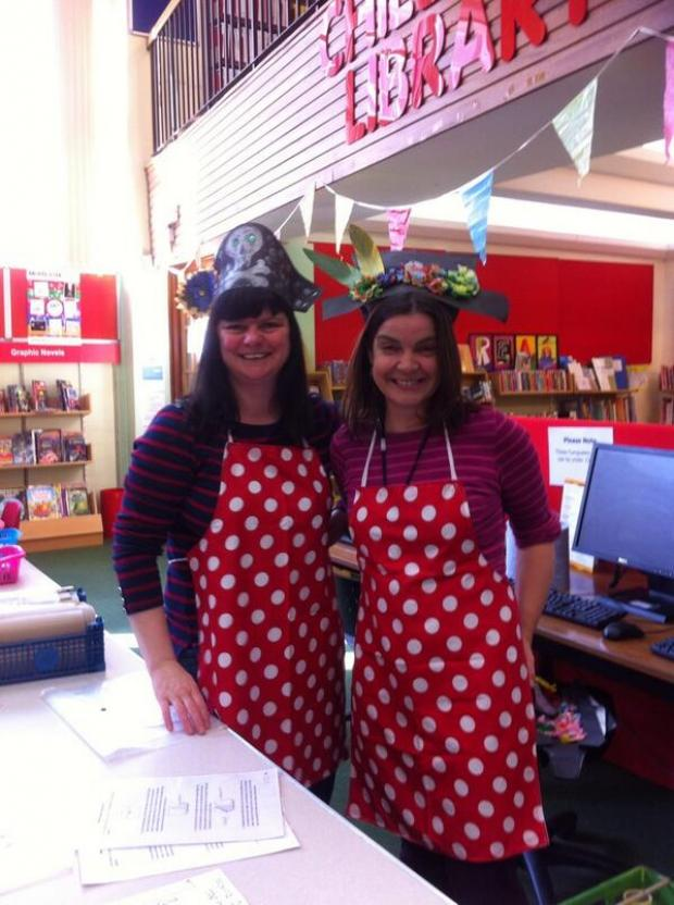Ledbury Reporter: (l-r) Rebecca Huggett and Anne-marie Dossett with their pirate hats.