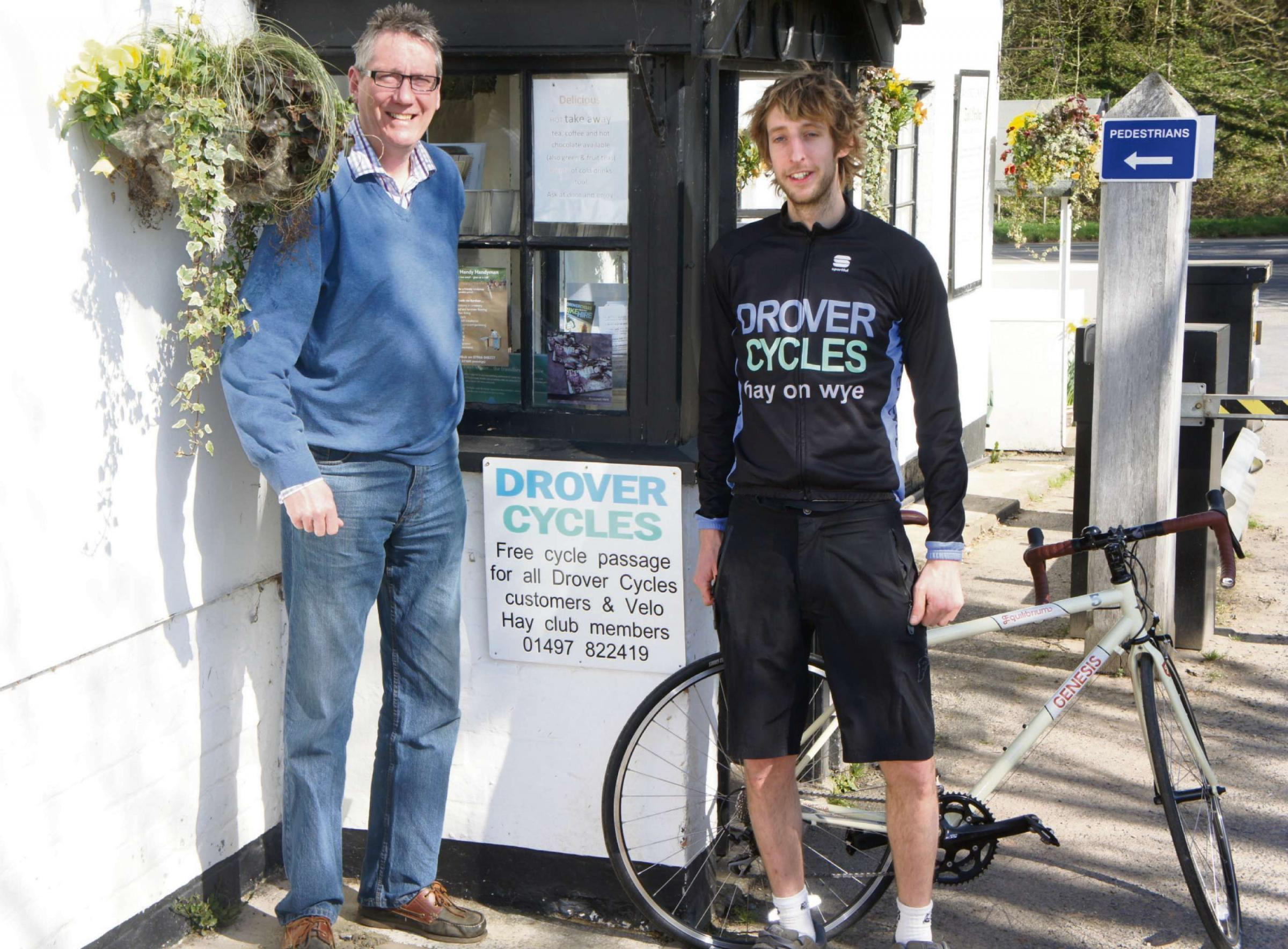 Whitney Toll bridge owner Grahame Penny with Drover Cycles' Joe Wellard.