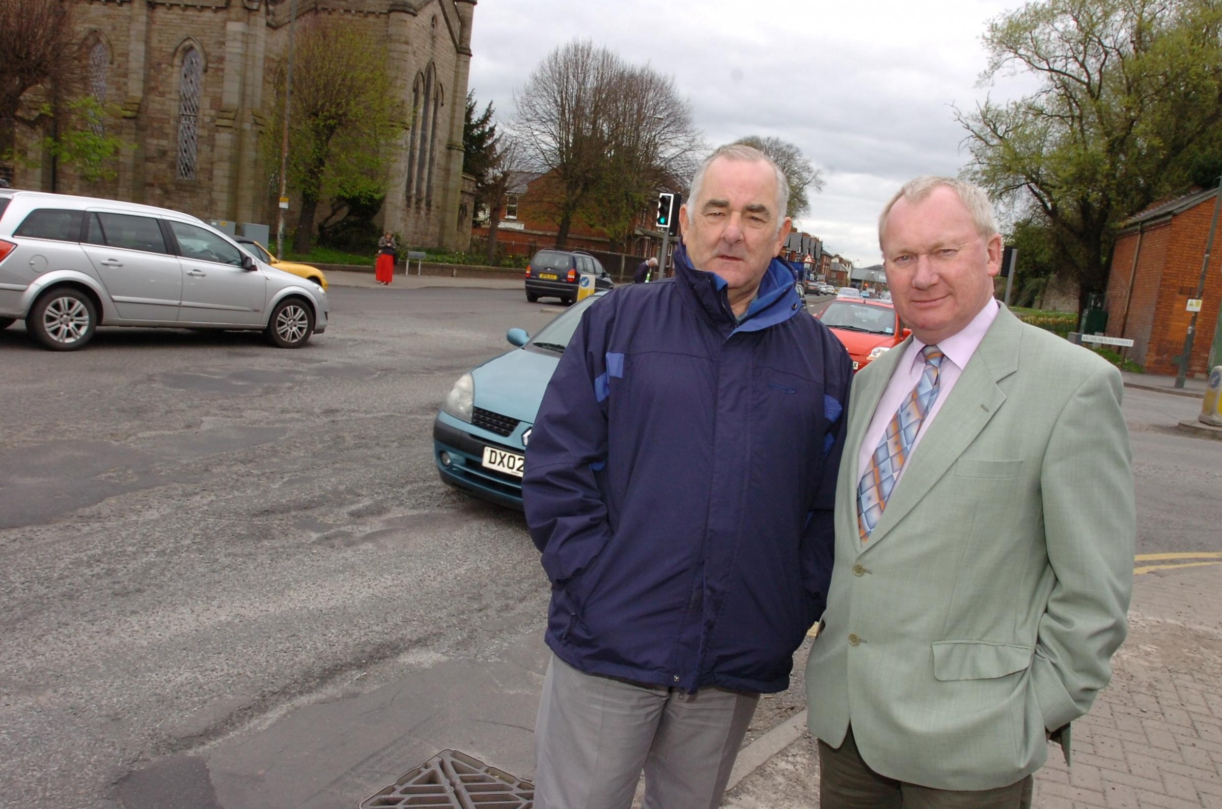 Councillors Chris Chappell (right) and Bob Preece recently appeared in the Hereford Times when they complained about the state of the A49 on Victoria Street. The Highways Agency has now promised to begin work on the road.