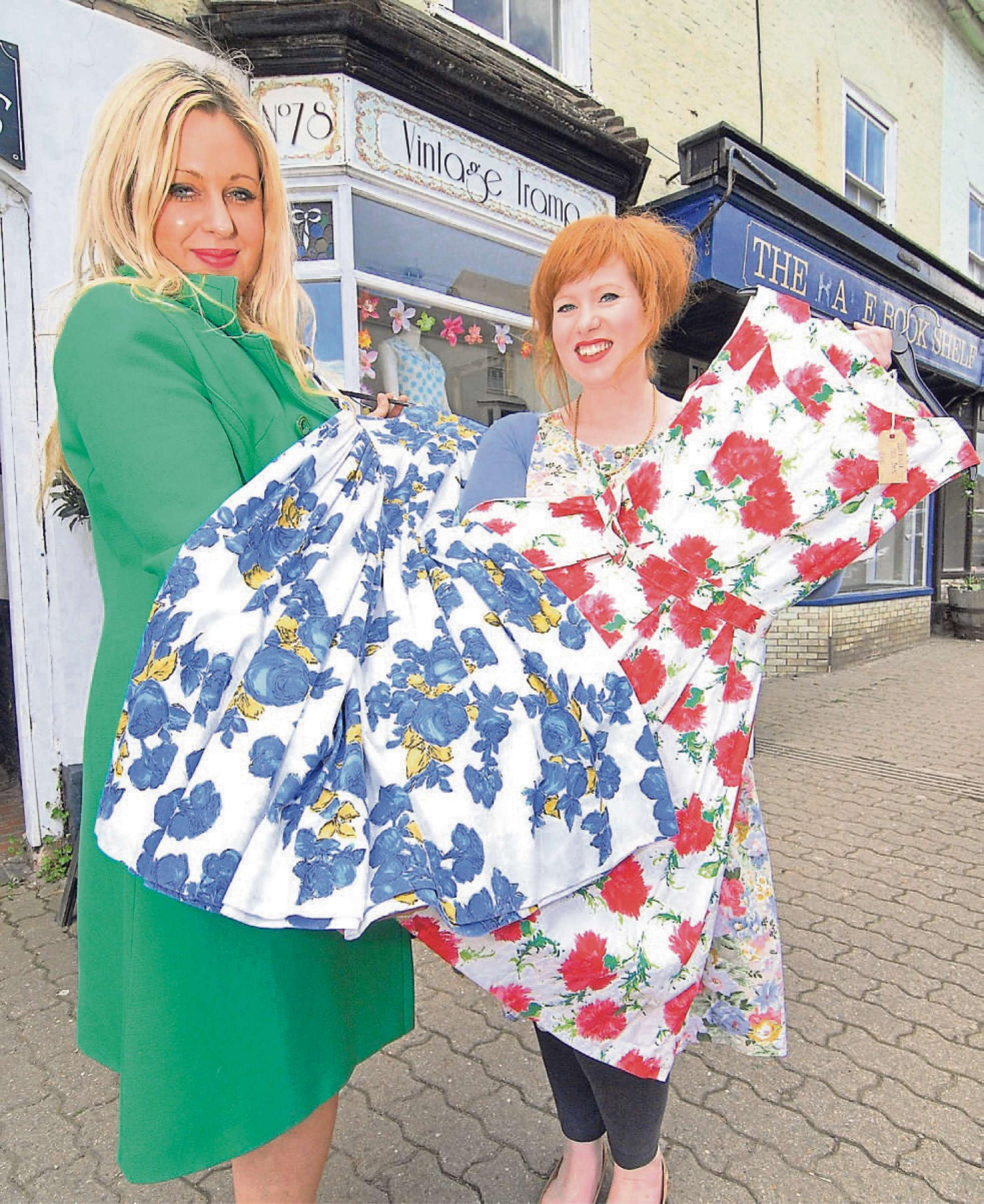 (l-r) Vintage Tramp owner Kelli Warr with shop manager Sophie Davies. Picture by Nick Toogood.