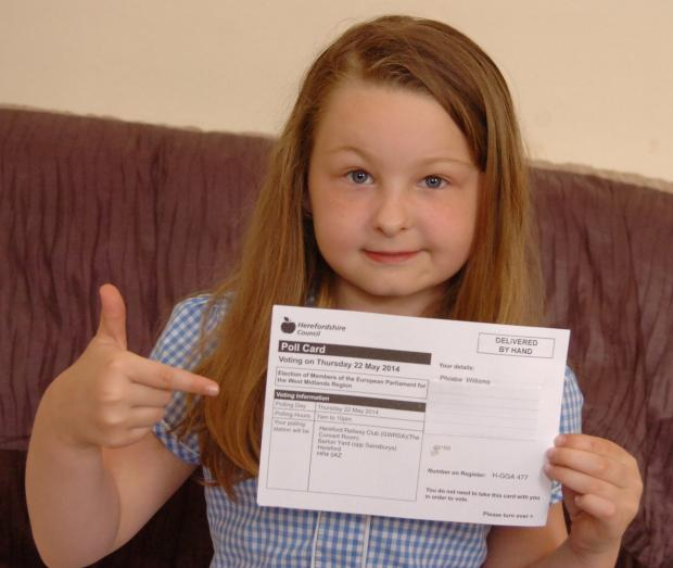Phoebe Williams, seven, has been sent a polling card for today's European Elections. Picture: James Maggs.
