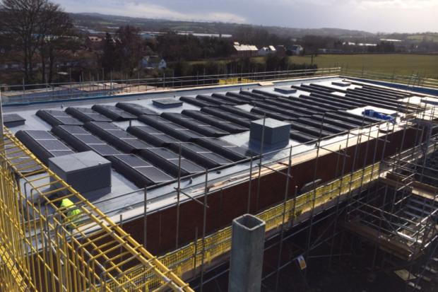 The solar panels in place on Leominster's new school. Photo by Caplor Energy.