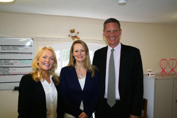 (l-r) Little Princess Trust charity manager Monica Glass, LPT co-founder and trustee Wendy Tarplee-Morris and Richard Hull, managing director of Salon Services.