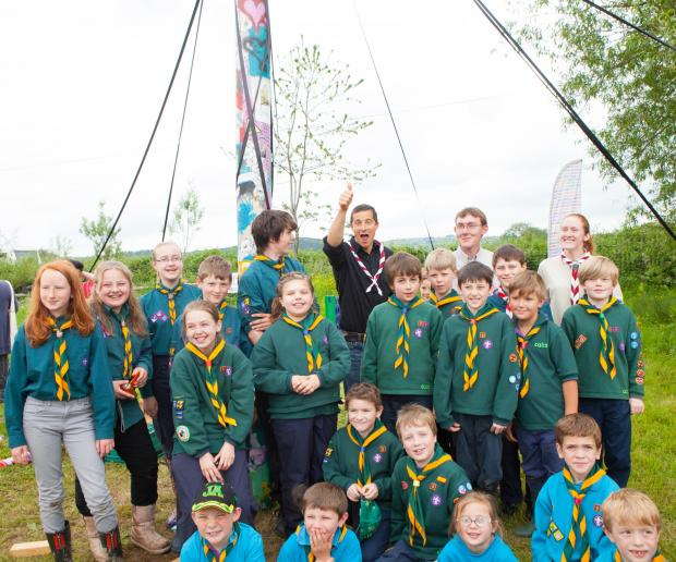 Bear Grylls meeting the first Golden Valley Scout Group. Photo: Marsha Arnold.