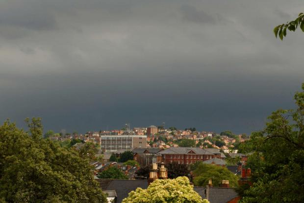 Ledbury Reporter: GLOOM: Dark skies over Worcester this morning. Picture by Paul Jackson