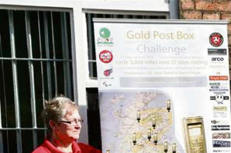 Seen here, Lucus (centre) and Chris (right) are alongside the Gold Post Box celebrating Charlotte du Jardin's 2012 Olympic Gold Medal in dressage, alongside Frances Magor Lucas' mum, their route supporter and organiser.