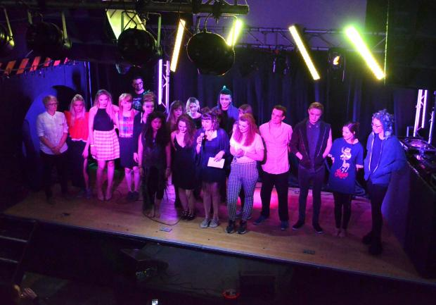Models and designers for Hereford College of Arts on stage after the fashion show at The Jailhouse.