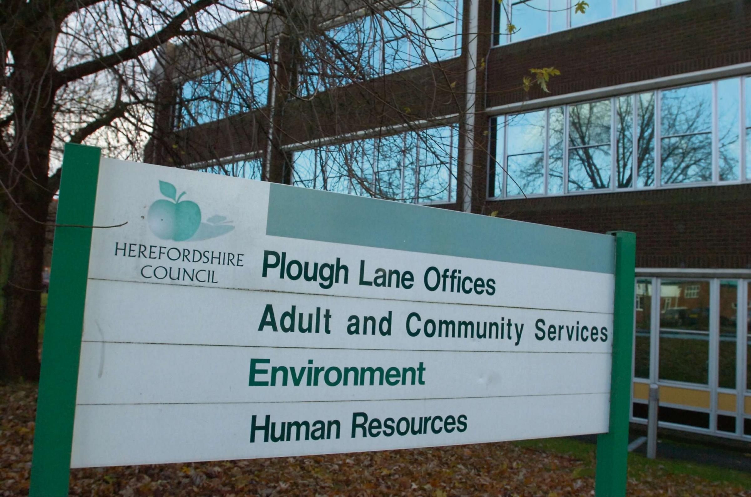 Hereford Council Offices, Plough Lane, Hereford. Adult & Community Services, Environment, Human Resources. ENDS. 084933-2 (7309395)