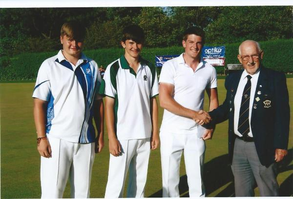 WESTON WINNERS: Ledbury Bowling Club's (left to right) Dan Holmes, Tom Holmes and Ben Harwood, with tournament chairman Paul Tubb, claimed the Sunday triples. Picture: JIM KEAY.