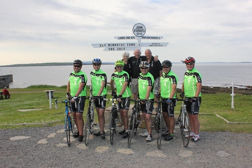 The team of six cyclists with physiotherapist Liz Peel and drivers Andy Preedy and Kevin Payne at the start of their mammoth journey.