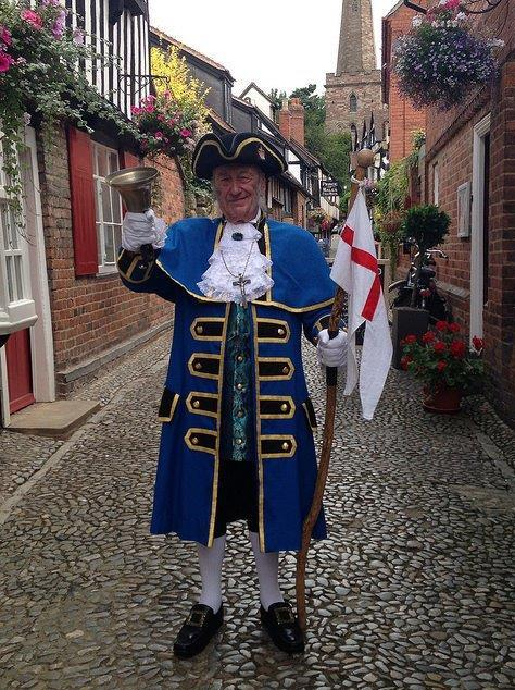 TRUE BLUE: The town crier in his