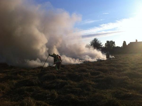 Fire crews tackled a large grass fire in Hereford last night. Photo: SID CRACKER.