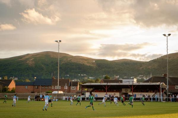 HILLY SETTING: The picturesque scene at the HDanywhere Community Stadium as Malvern Town beat Worcester City 5-0 in a friendly. Picture: PAUL PAXFORD @PITCHSIDEPHOTO