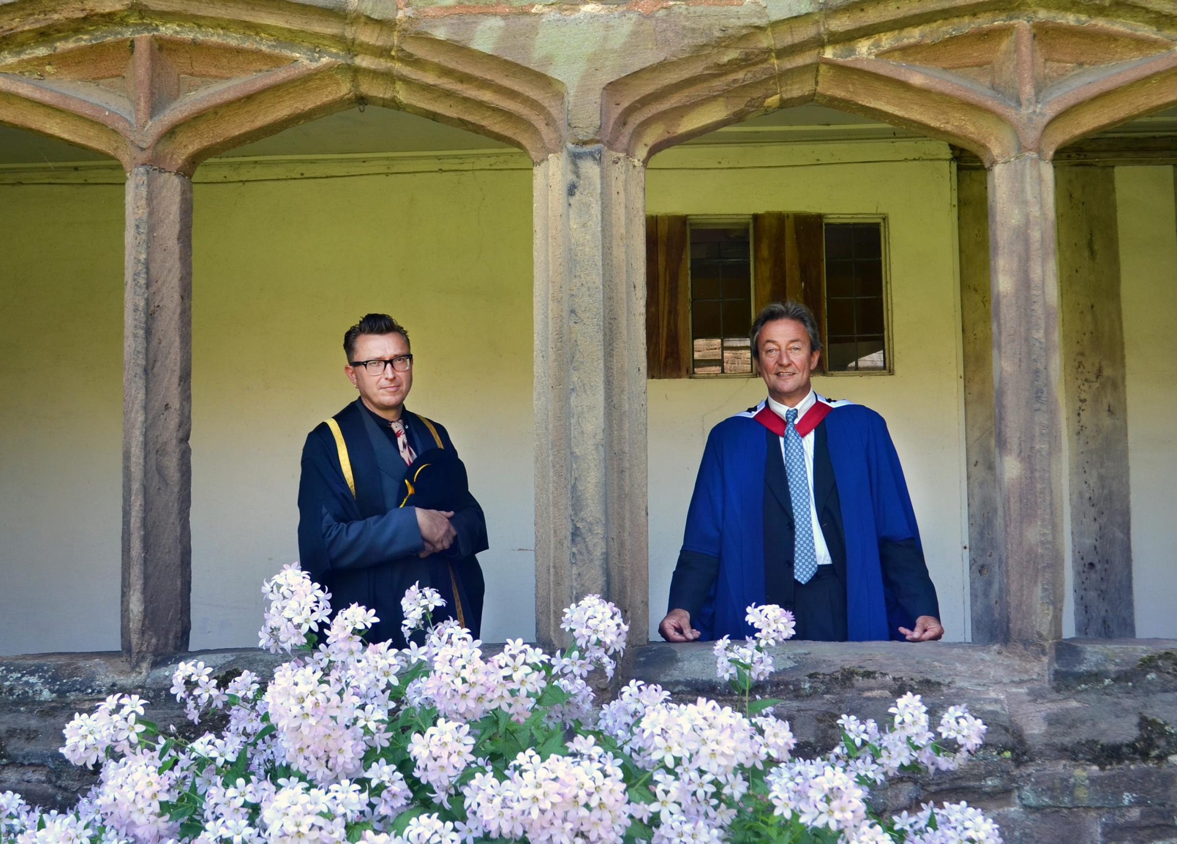 From left: Artist and illustrator Andrew Foster with Hereford College of Arts principal Richard Heatly. (Photo by Dee Montague)