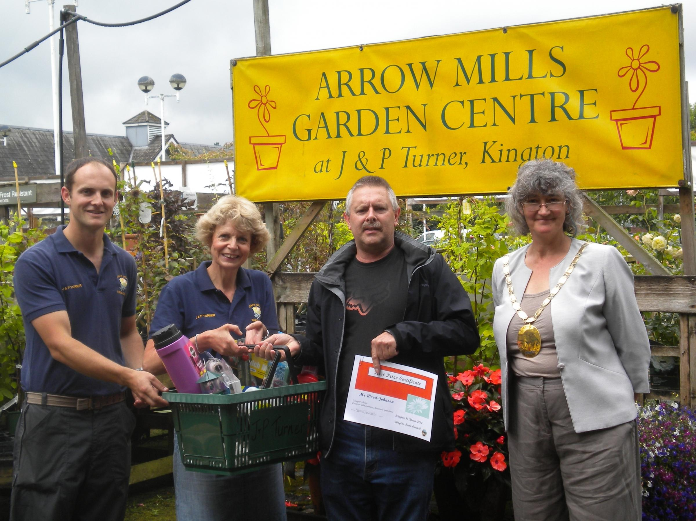 (From left) Simon and Sara Turner of Arrow Mills Garden Centre, Mr Ian Wood-Johnson - winner of the Turner Prize - and Kington mayor Celia Kibblewhite.