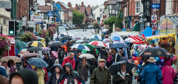 SHOWERS: Brollies on parade as visitors brave the rain at Ledbury Carnival 2014. Picture by Barry Tweed-Rycroft