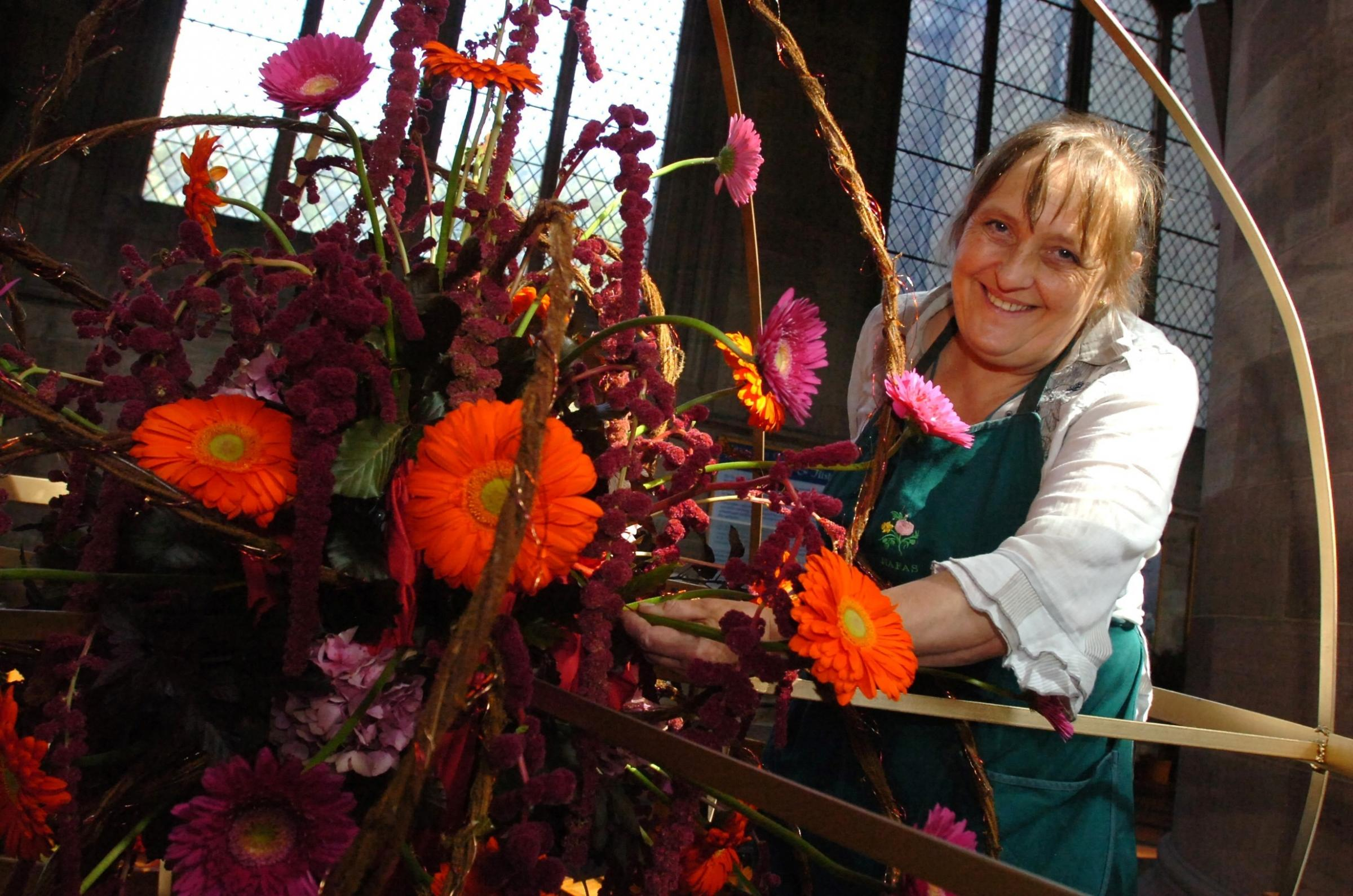 Stage set for Festival of Flowers at Hereford Cathedral