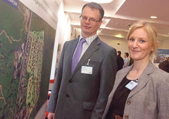Ben Stephenson, of Barton Willmore, and Victoria Trotman, of Bovis Homes, with the Aylestone Hill plans on display.