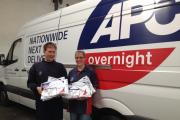 James Shepherd, operations manager at APC Hereford, with driver, Sue Steele, holding sponsorship packs for this weekend's event.