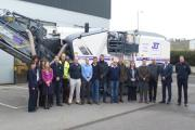 CELEBRATIONS: Staff at Jet Plant's Evesham office with the 80th Wirtgen road planer.