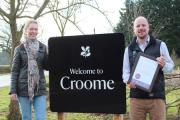 CROOME AWARD: Becky Wilks (left) and Michael Forster-Smith (right) with the award. Photograph by Tracey Blackwell
