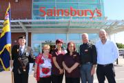 (From left) Standard bearer Bert Eades and Shirley Eades, from Blackheath Royal British Legion, Sainsbury's staff Donna Taylor, Jo Thatcher, and Matt Gill and legion secretary Mark Spilsbury.