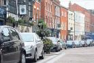 Cars parked in Hereford's Widemarsh Street on Saturday