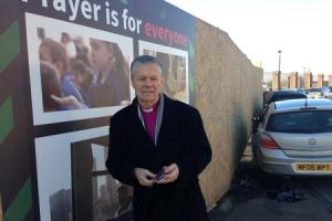 VIDEO: Bishop of Hereford unveils hoardings featuring images of banned advert