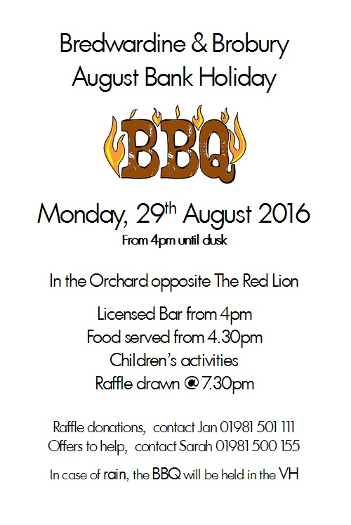 Bredwardine & Brobury August Bank Holiday BBQ