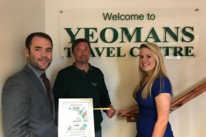 Kevin Hopkins, Engineering Manager for Yeomans(centre), presented by Matt Cole(l), Operational Compliance Manager and Melissa Wright(r), Service Delivery Manager, both from National Express