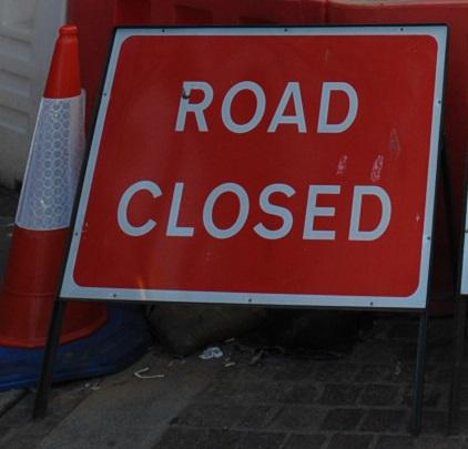 The road is closed to traffic travelling from Birmingham.