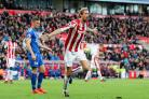 Peter Crouch celebrates his equaliser for Stoke against Leicester (Martin Rickett/Empics)