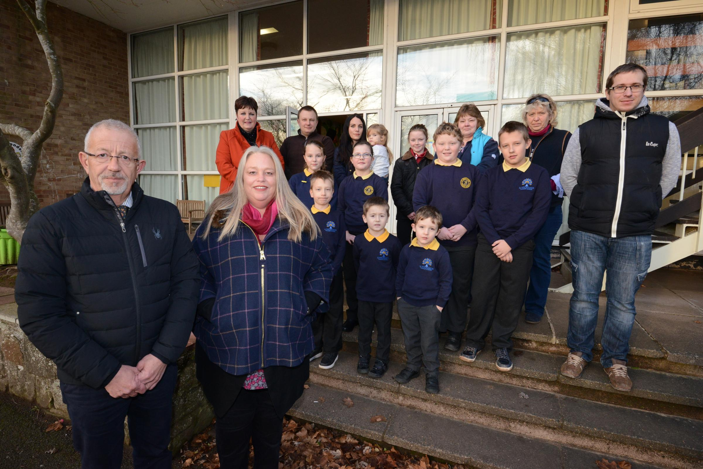 Chief Executive Peter Box & Executive Headteacher Maggi Newton with children & parents at St. Weonards Primary School. The school are hoping to introduce flexi-schooling, working alongside home-schooled children..