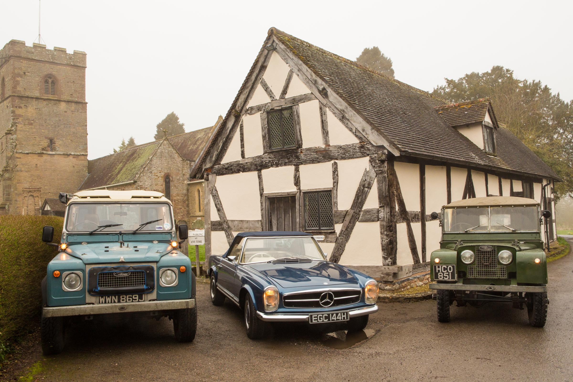 John Bradshaw's Series 4 Land Rover, Alan Torbet's Mercedes SL and Jon Hutching's Series 1 Land Rover outside the Ale House,. Andy Meany Photography