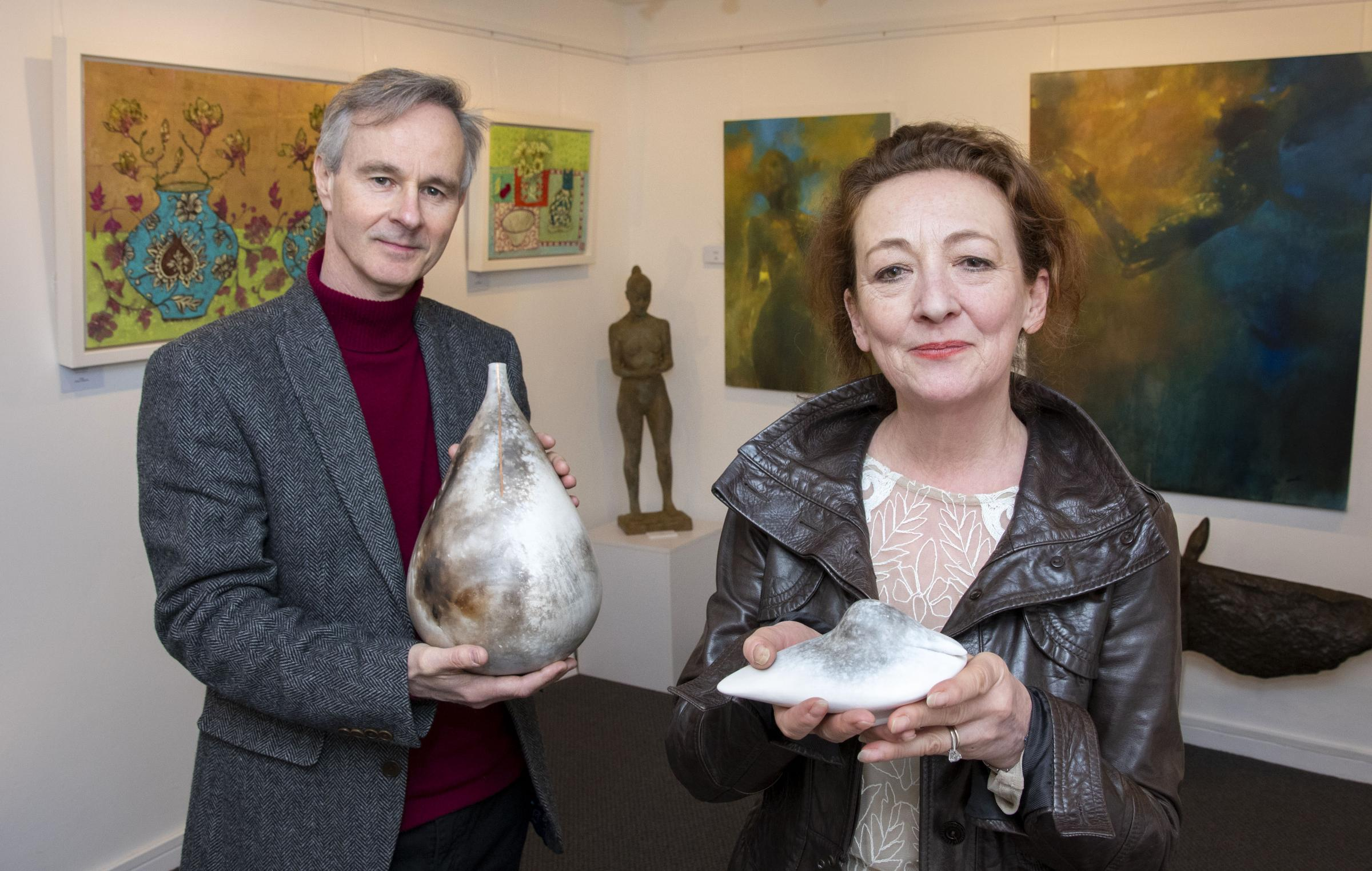 OPEN: The new Ledbury Gallery. Seen here, from the left - Brent Blair, owner and Kathryn Roberts, gallery assistant