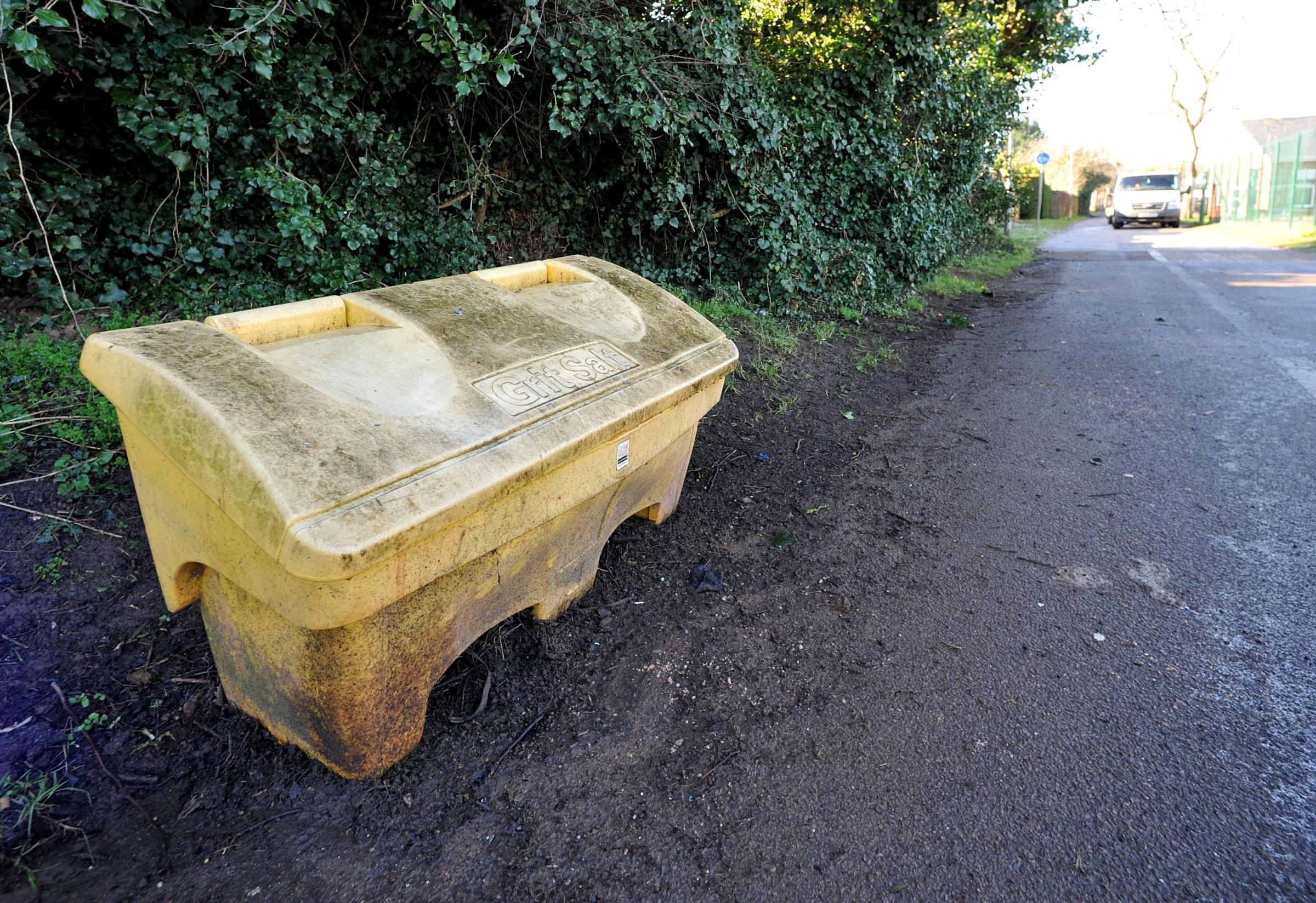 ROW: New grit bins like this could be bought by Ledbury Town Council. They question is, who fills the new bins up? Herefordshire Council says that's also down to the town council.