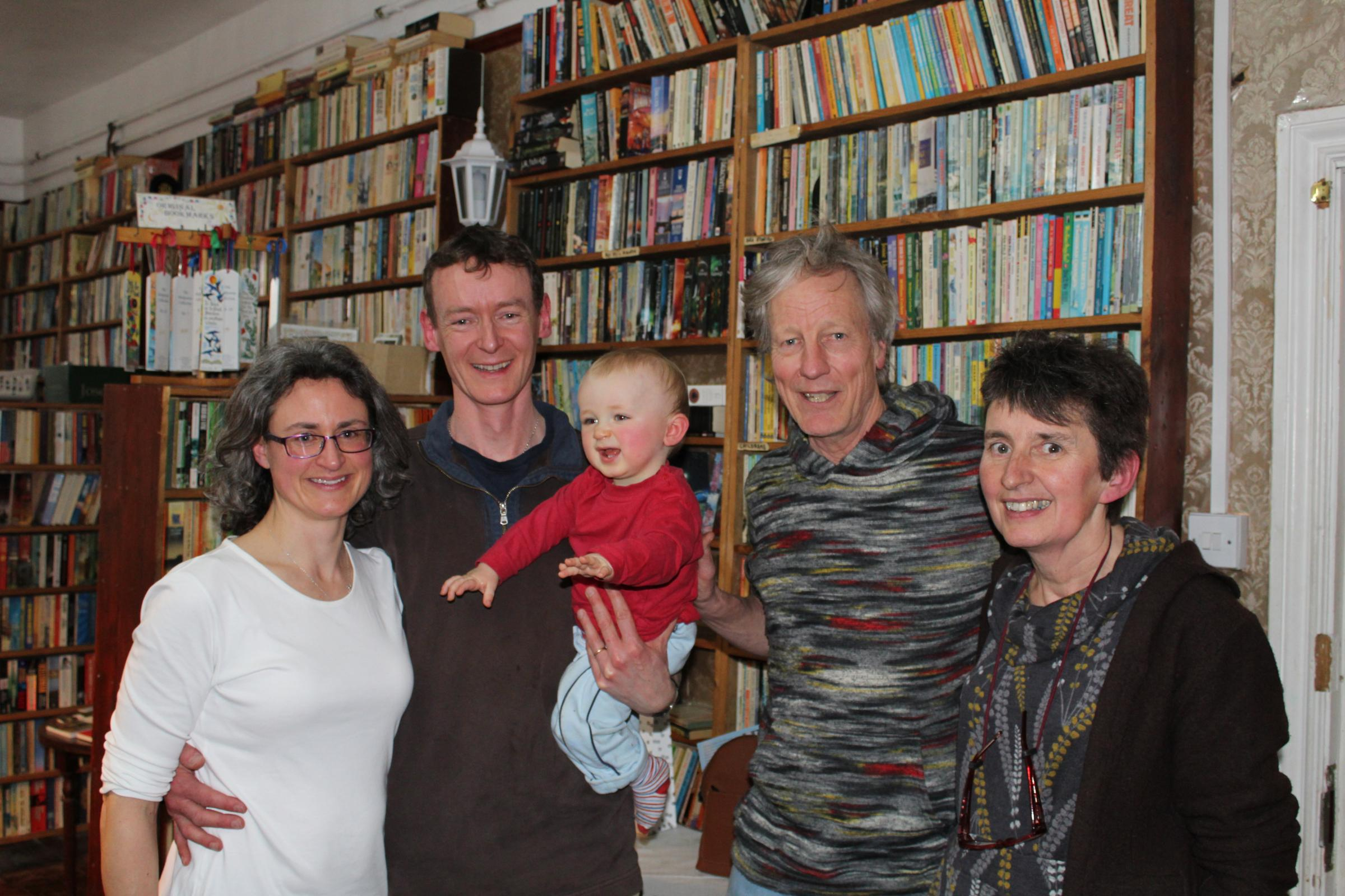 Su, Richard and one-year-old Jesse Wheeler, Andy and Karen Johnson at the retirement tea
