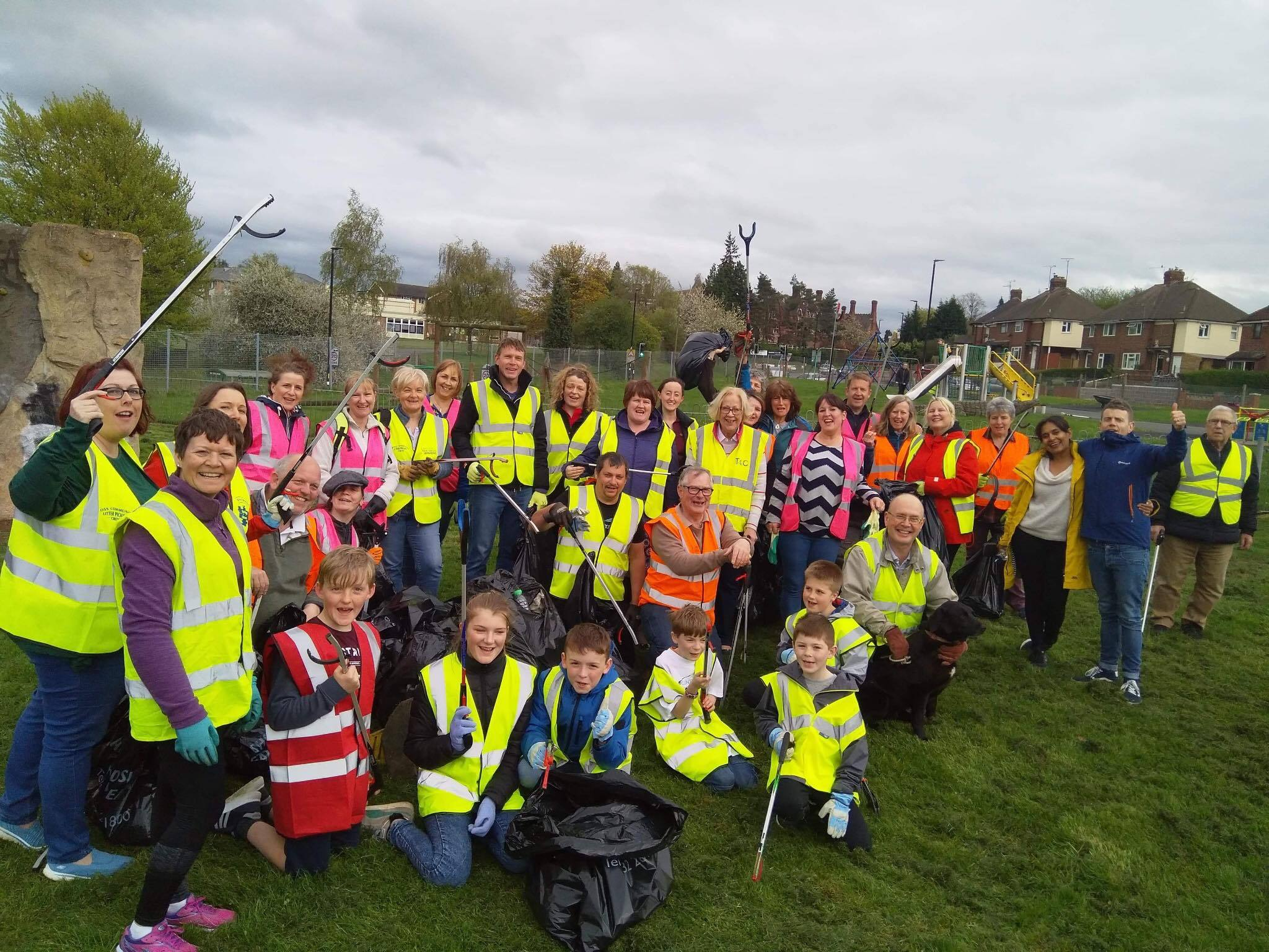 The group of litter pickers at Old School Lane playing fields in Hereford. Photo by Nickie Bates