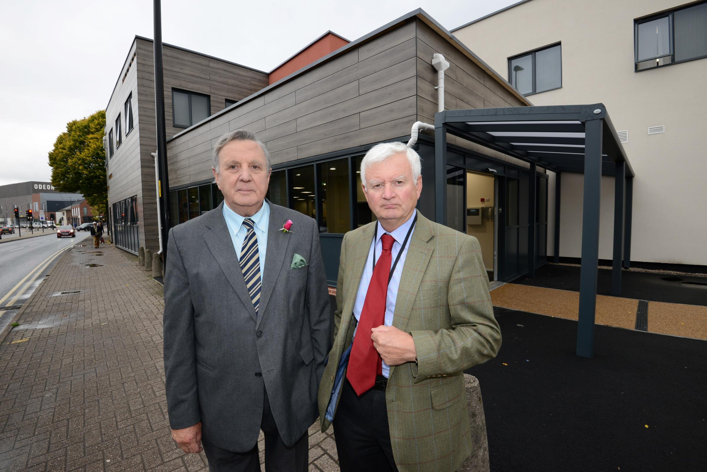 from left: Independent Councillors Bob Matthews & John Hardwick outside Blueschool House which has just undergone a renovation costing nearly £2 million, around £1 million over budget. Blueschool Street, Hereford. 1738_1001.