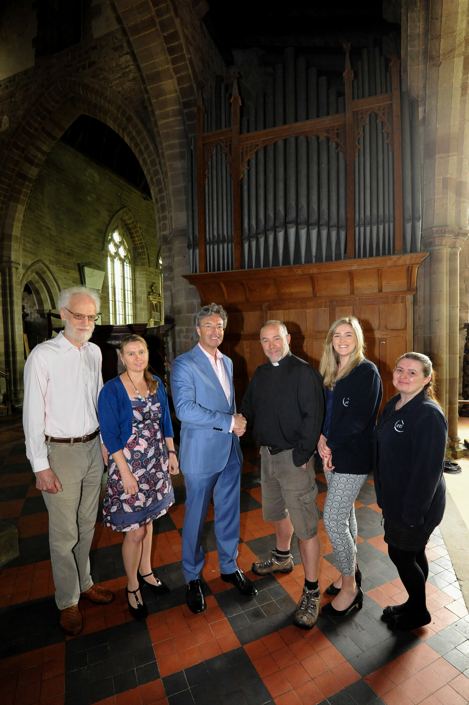ETL Systems in Madley have donated £1000 to repair the organ & roof at St. Mary's Church, Madley. from left: John Dinnen (PCC group), Jessica Stone (ETL), Ian Hilditch (Managing Director & CEO, ETL), Rev. Simon Lockett, Danielle Mee (ETL