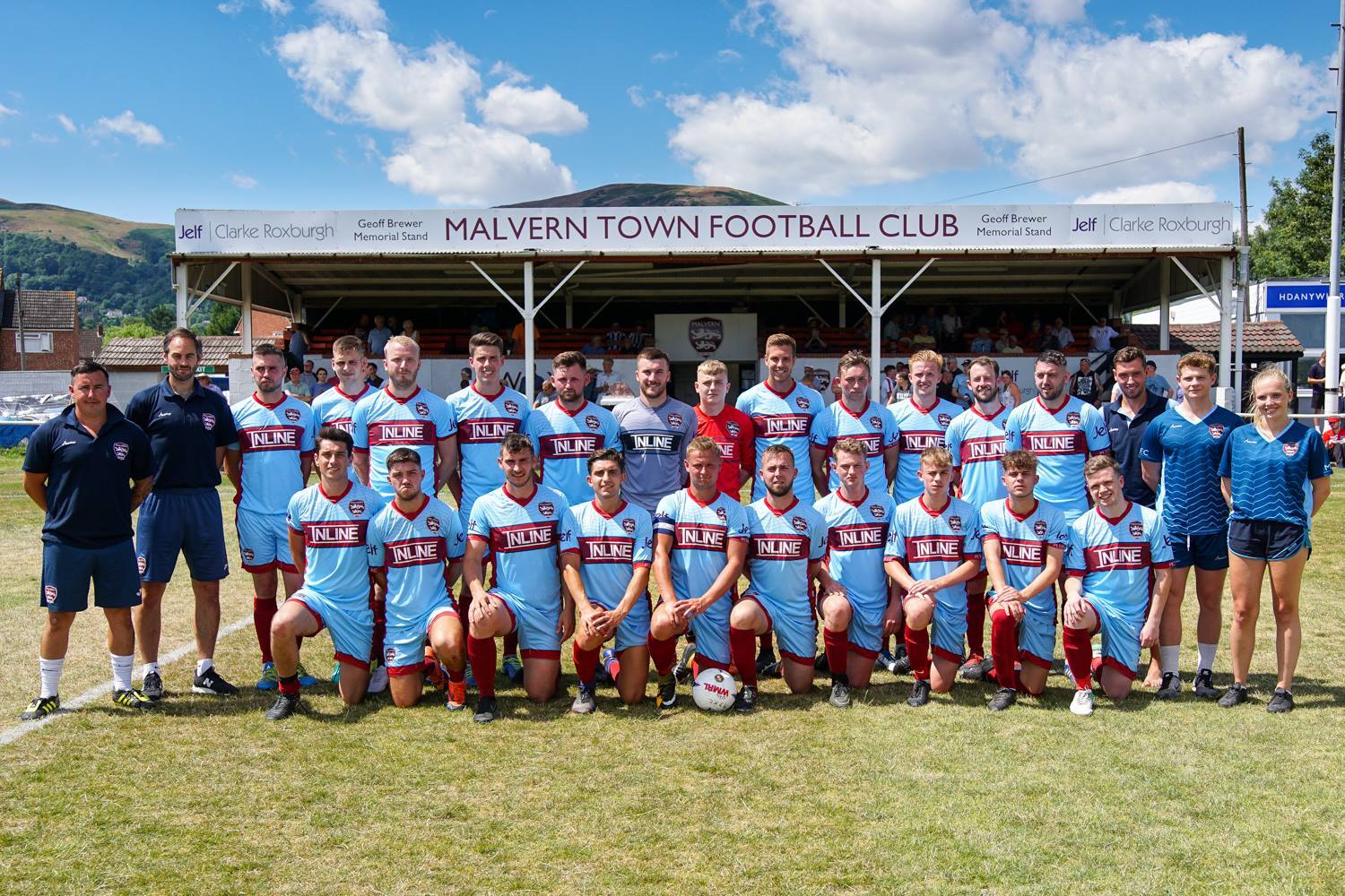 Malvern Town's players and staff line-up ahead of their clash with Worcester City. Picture: CLIFF WILLIAMS