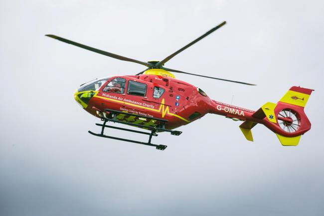 The motorcyclist was airlifted to hospital in Bristol.