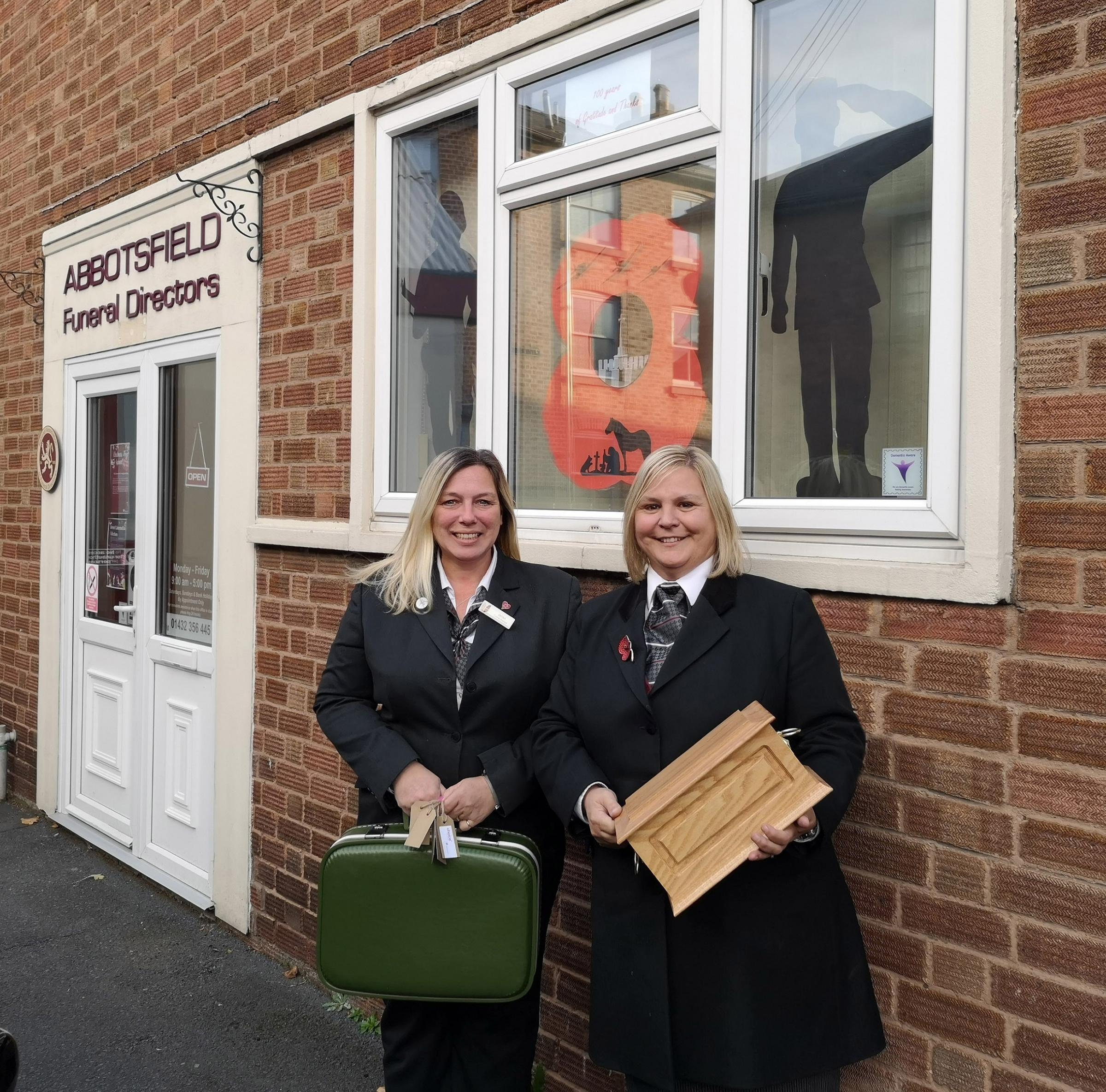 Jacqui Williams and Joanne Gardiner are collecting memories and poignant items at Abbotsfield Funeral Directors in Hereford for the time capsule.