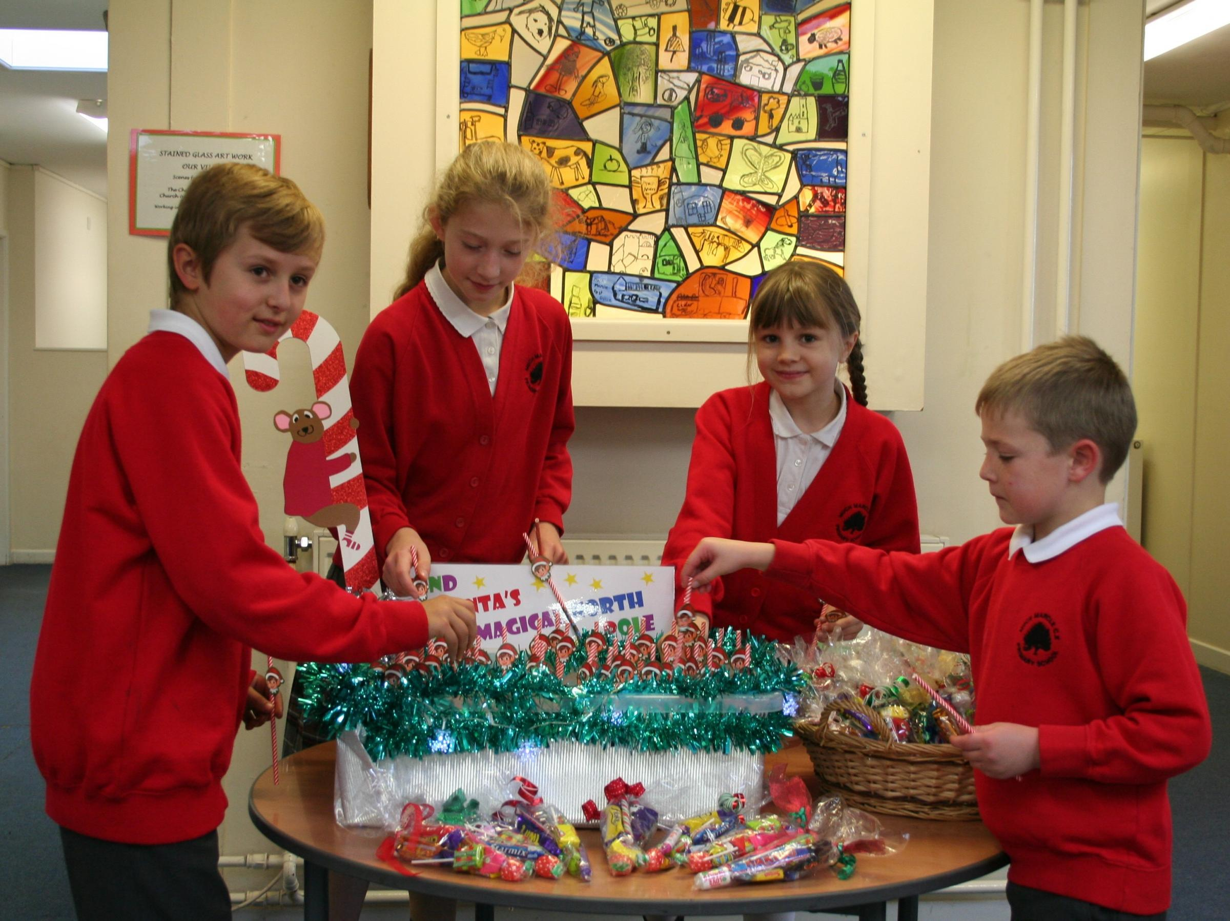 EXCITED: Much Marcle Primary children get ready for a festive fayre