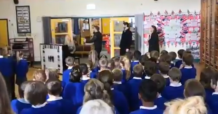 Take That surprise Weobley Primary School children and teacher Sarah O'Neil